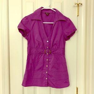 Guess Purple Short Sleeve Blouse